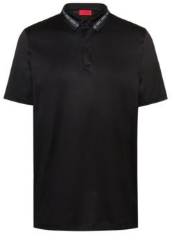 Slim-fit polo shirt in mercerized cotton with logo-tape collar