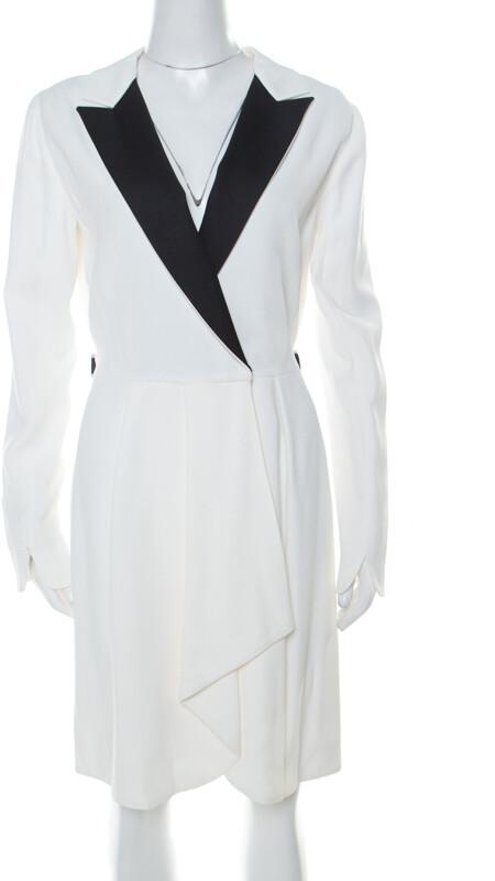 Vionnet Off-White Moss Crepe Short Tuxedo Style Wrap Dress M