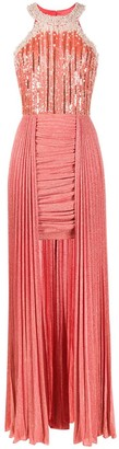 Elisabetta Franchi Embellished Pleated Gown