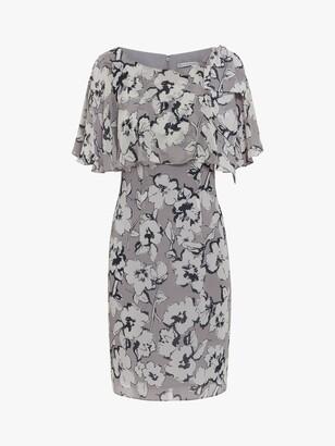 Gina Bacconi Mahra Floral Chiffon Dress, Grey