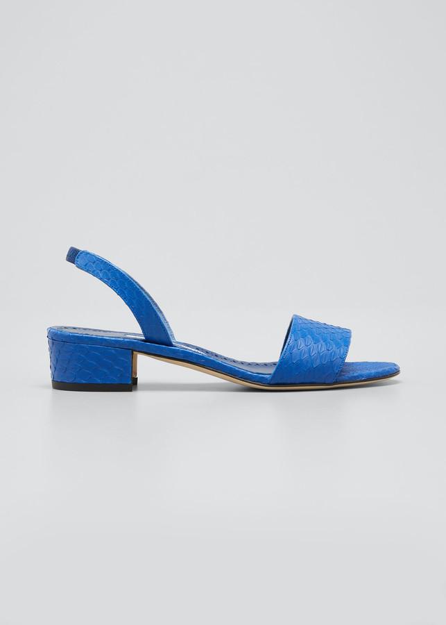 Thumbnail for your product : Manolo Blahnik Patopia Snakeskin Halter Sandals