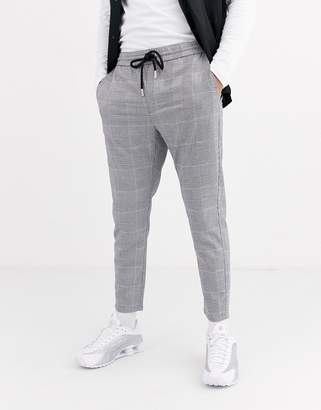 ONLY & SONS drawstring waist puppy tooth check trousers in grey