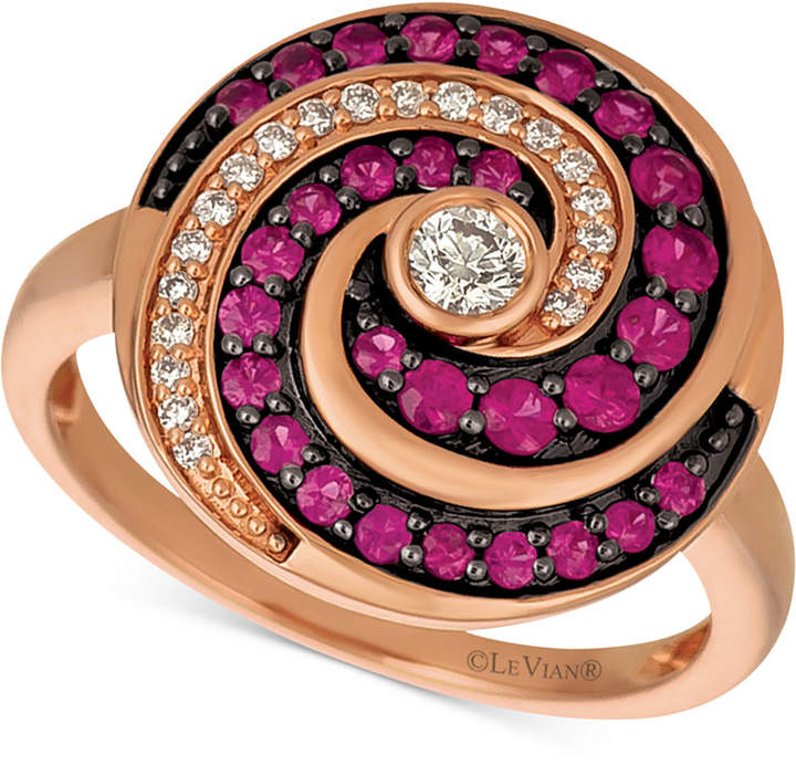 LeVian Le Vian Extraterrestrials® Passion RubyTM (1/2 ct. t.w.) & Diamond (1/5 ct. t.w.) Spiral Ring in 14k Rose Gold