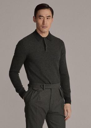 Ralph Lauren Herringbone Cashmere Polo-Collar Sweater