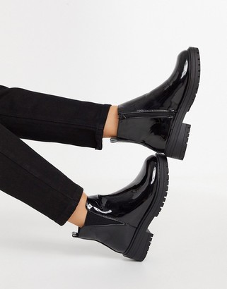 New Look chunky patent chelsea boot in black