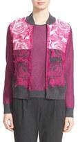 St. John Floral Knit Bomber Jacket