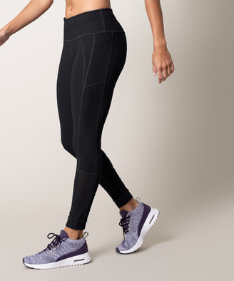 MPG Women's Leggings 1401_Black - Black Emulate Lace-Up Mesh 7/8 Leggings - Women