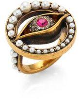 Alexander McQueen Jewelled Faux-Pearl Eye Ring