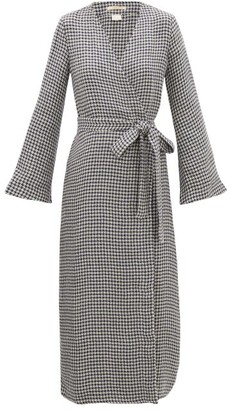 Once Milano - Houndstooth Linen Robe - Womens - Navy Multi
