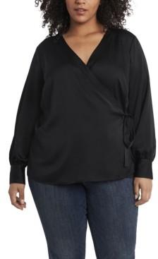 Vince Camuto Women's Plus Size Long Sleeve Side Tie Wrap Front Blouse