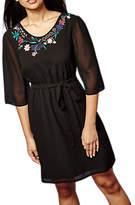 Yumi Plus Size Botanical Embroidered Dress, Black/Multi