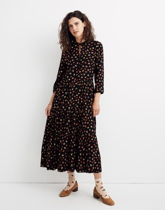Madewell Petite Button-Front Tier Midi Dress in Feline Floral