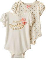 """Nannette Baby Girl 2-pk. """"Brand Sparkling New"""" Graphic & Heart Print Bodysuits"""