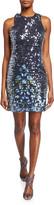 Aidan Mattox Sequined Floral-Embroidered Sleeveless Mini Dress
