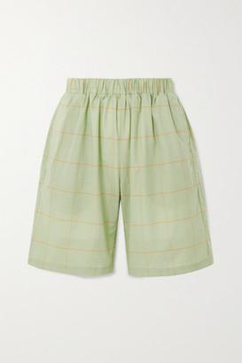 MATIN - Bermuda Checked Cotton-voile Shorts - Green
