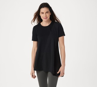 LOGO Lounge by Lori Goldstein French Terry Top with Eyelet Panel