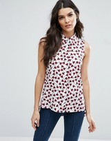 Vila Sleeveless Shirt In Poppy Print