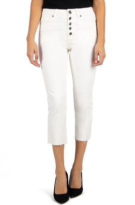 KUT from the Kloth Kelsey High Waist Raw Hem Crop Straight Leg Jeans