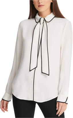 DKNY Petite Piped-Trim Button-Up Blouse