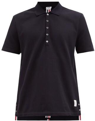 Thom Browne Tricolour-stripe Cotton Polo Shirt - Mens - Navy