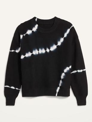 Old Navy Tie-Dye Stripe Textured Crew-Neck Sweater for Women