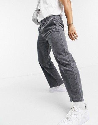 Topman wide leg pants in gray corduroy