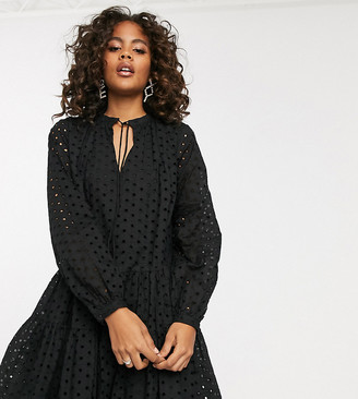 Asos DESIGN Tall tiered trapeze mini dress in broderie in black