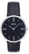 BOSS Men's Ultra Slim Leather Strap Watch, 40Mm