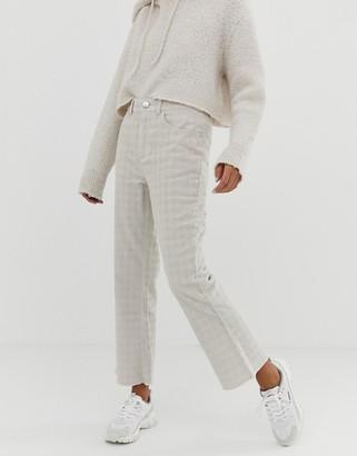 ASOS DESIGN Egerton rigid crop kick flare jeans in putty check cord