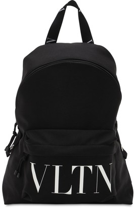 Valentino Logo Print Nylon Backpack