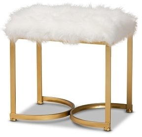Baxton Studio Gwyn White Faux Fur Upholstered and Gold Finished Metal Ottoman