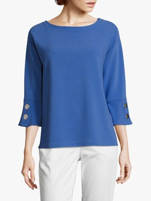 Betty Barclay Ribbed Button Jersey Top, Adria Blue