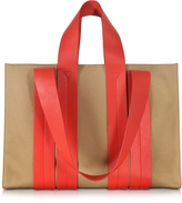 Corto Moltedo Costanza Beach Club Red Leather and Sand Canvas Tote Bag