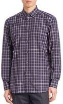 Brioni Plaid Button-Down Shirt