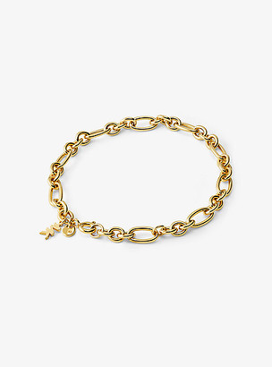 Michael Kors Precious Metal-Plated Sterling Silver Chain Link Starter Charm Bracelet - Gold