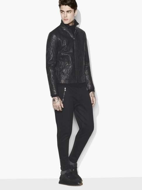 John Varvatos Crinkled Leather Jacket