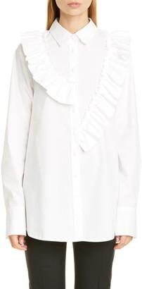ADEAM Asymmetrical Ruffle Poplin Shirt
