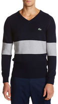 Lacoste Golf Cotton Textured V-Neck Sweater