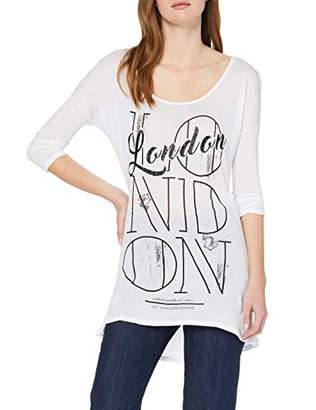 trueprodigy Casual Womens Clothes Funny and Cool Designer Long Sleeve T-Shirt for Ladies with Design Crew Neck with Buttonpanel Slim Fit Long Sleeve Sale, Size:XS, Colours: