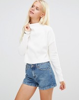 Daisy Street Crop Top With High Neck