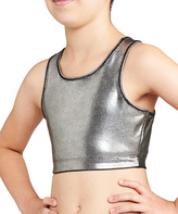 Danskin Silver Foil Print Gymnastic Crop-Top - Girls