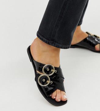 Depp wide fit leather double buckle open toe mule in croc-Black