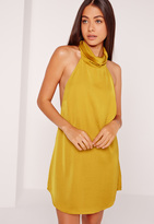 Missguided Silky High Neck Swing Dress Chartreuse