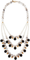 Lydell NYC Tri-Tone Matte-Beaded Three-Strand Bib Necklace, Multi