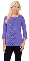 Bob Mackie As Is Bob Mackie's 3/4 Sleeve Knit Top with Chevron Sequin Detail