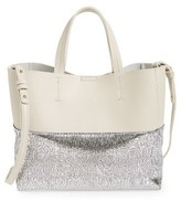 Street Level Colorblock Faux Leather Tote - Grey