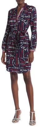 Trina Turk Expedition Long Sleeve Waist Tie Print Silk Dress