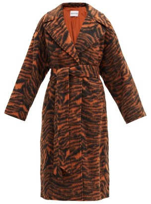 Stand Studio Pam Belted Tiger-jacquard Wool-blend Coat - Black Beige