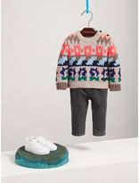 Burberry Exploded Fair Isle Wool Cashmere Sweater , Size: 18M, Orange