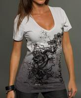 Rebel Spirit Gray & White Dragon V-Neck Tee - Women